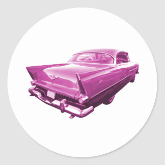 Pink Plymouth Tail Fins Classic Round Sticker