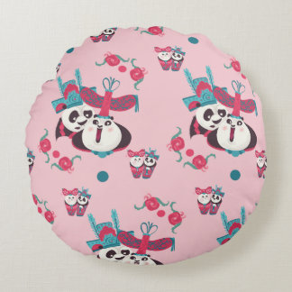 Pink Po and Mei Mei Pattern Round Pillow