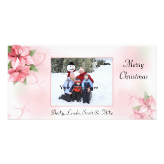 Pink Poinsettas Photo Card