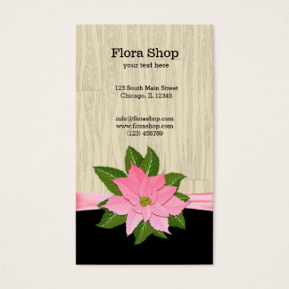 Pink Poinsettia Business Card