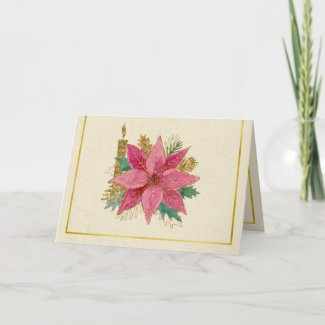 Pink Poinsettia By Golden Candlelight Card