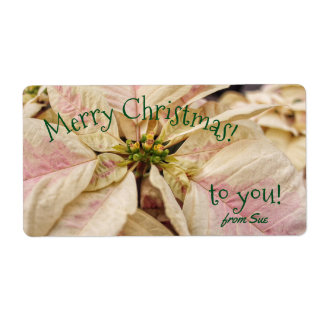 Pink Poinsettia Custom Name Christmas Gift Labels