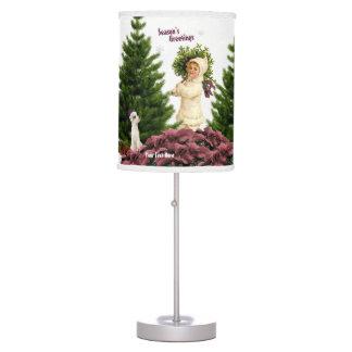 Pink Poinsettia Seasons Greetings Table Lamp