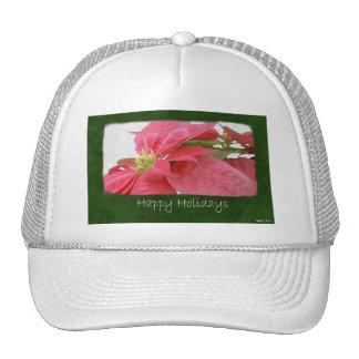Pink Poinsettias 1 - Happy Holidays Mesh Hats