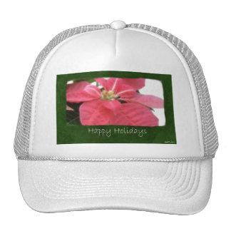 Pink Poinsettias 2 - Happy Holidays Trucker Hat