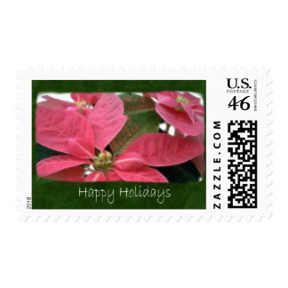 Pink Poinsettias 3 - Happy Holidays Postage