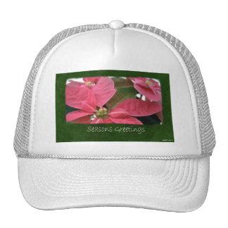 Pink Poinsettias 3 - Seasons Greetings Mesh Hat