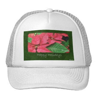 Pink Poinsettias 4 Painterly - Happy Holidays Hat