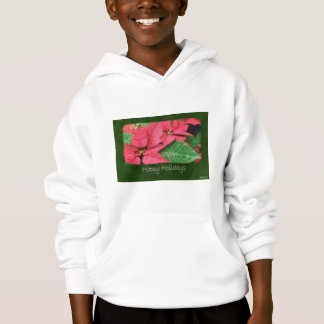 Pink Poinsettias 4 Painterly - Happy Holidays Hoodie