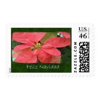Pink Poinsettias 5 - Feliz Navidad Postage Stamp