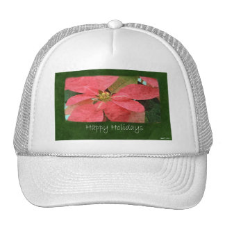 Pink Poinsettias 5 - Happy Holidays Hat