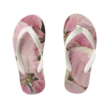 Beach Themed Pink Poinsettias Kid's Flip Flops