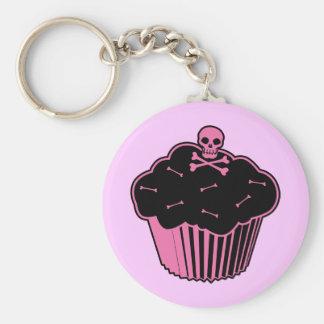 Pink Poison Cupcake Basic Round Button Keychain