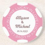 Pink poker chip lucky in love wedding anniversary sandstone coaster