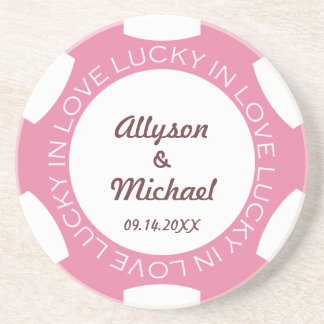 Pink poker chip lucky in love wedding anniversary sandstone coaster
