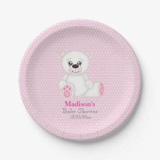 Pink Polar Bear Baby Shower Plates 7 Inch Paper Plate