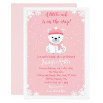 Pink Polar Bear Winter Baby Shower Card