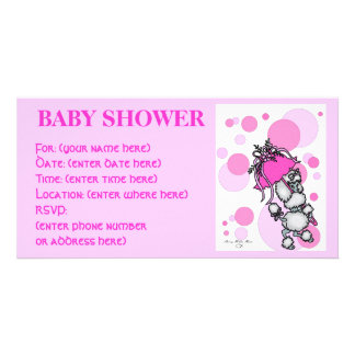 Pink Polk a Dot Poodle Baby Shower Card