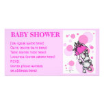 Pink Polk a Dot Poodle Baby Shower Customized Photo Card