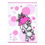 Pink Polk-a-dot Poodle Personalized Invites