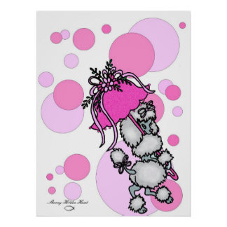 Pink Polk-a-dot Poodle Poster
