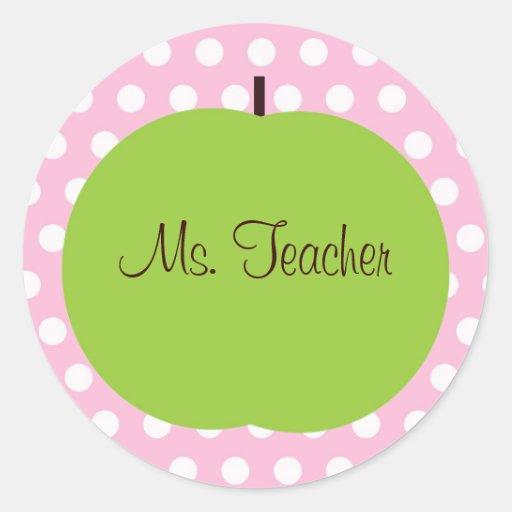 Pink Polk-a-dot Teacher Sticker