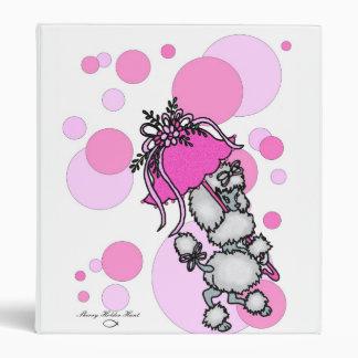 Pink Polk-dot Poodle 3 Ring Binder