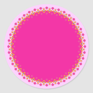 Pink Polka Border Blank Template Label Classic Round Sticker