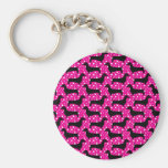 Pink Polka Dachshunds Basic Round Button Keychain
