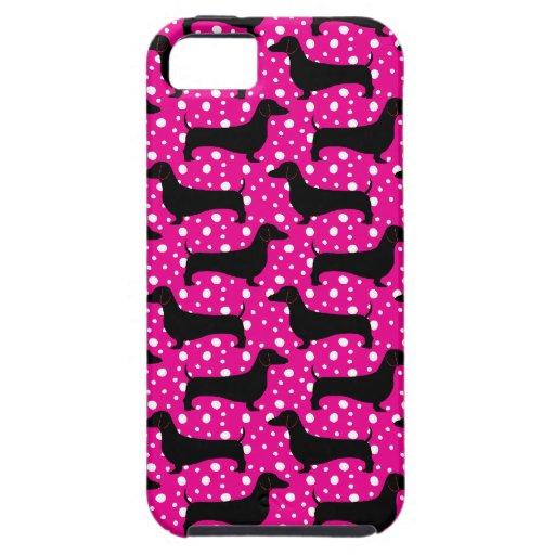 Pink Polka Dachshunds iPhone 5 Covers