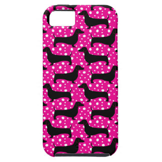 Pink Polka Dachshunds iPhone SE/5/5s Case
