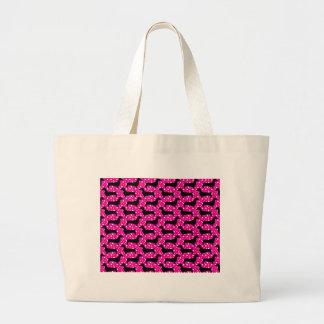 Pink Polka Dachshunds Large Tote Bag