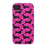 Pink Polka Dachshunds Vibe iPhone 4 Covers