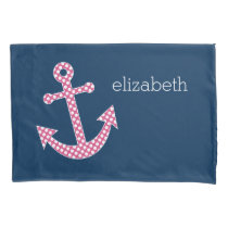 Pink Polka Dot Anchor with Navy Custom Name Pillow Case