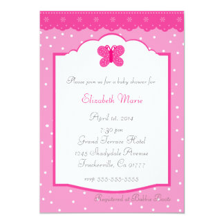 Pink Polka Dot and Butterfly Whimsical Baby Shower 5x7 Paper Invitation Card