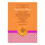 Pink Polka Dot and Coral Wedding Invitation