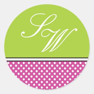 Pink Polka Dot and Green Wedding Sticker