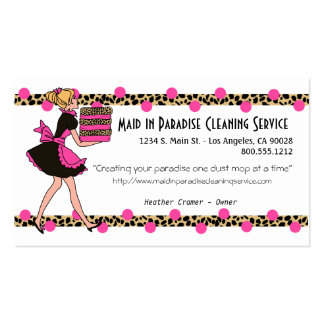 Pink Polka Dot And Leopard Cleaning Service Design Business Card Template