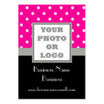 Pink polka dot and logo large business card