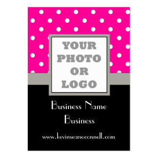Pink polka dot and logo large business card