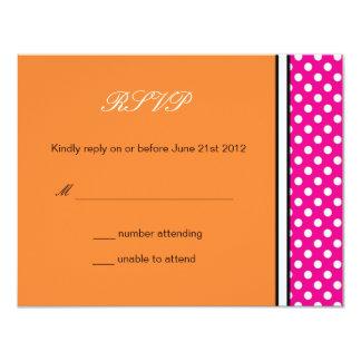 Pink Polka Dot and Tangerine Wedding RSVP Card