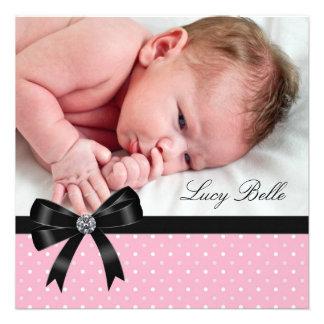 Pink Polka Dot Baby Girl Photo Birth Invitation