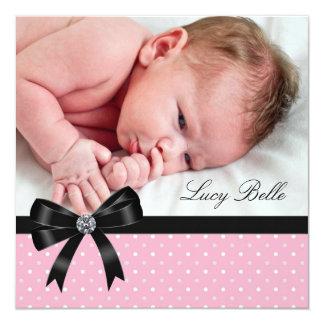Pink Polka Dot Baby Girl Photo Birth 5.25x5.25 Square Paper Invitation Card