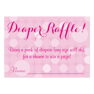 Pink Polka Dot Baby Shower Diaper Raffle Tickets Large Business Cards (Pack Of 100)