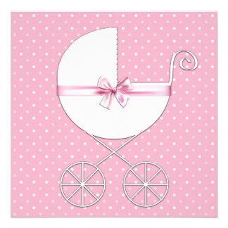 Pink Polka Dot Baby Shower Custom Invitations