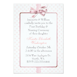 Baby naming ceremony invitations announcements zazzle pink polka dot babys birthday and naming ceremony card stopboris Image collections