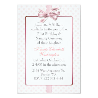 Pink Polka Dot Baby's Birthday and Naming Ceremony Card