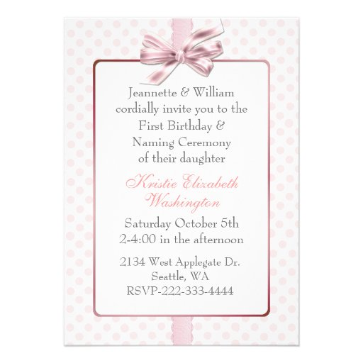 Pink Polka Dot Baby's Birthday and Naming Ceremony Personalized Invite