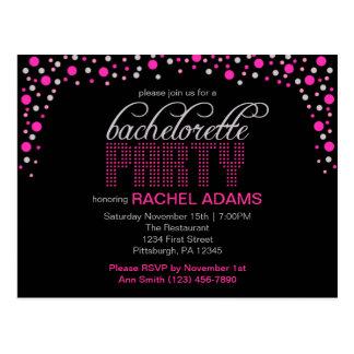 Pink Polka Dot Bachelorette Party Postcard Invite