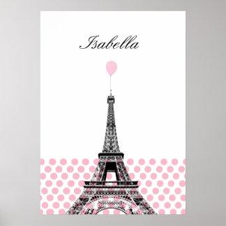 Pink Polka Dot Ballon Name Poster